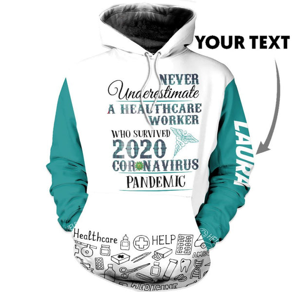 Personalized Never Underestimate A Healthcare Worker Heath Care US Unisex Size Hoodie