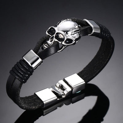 Black Durable Leather Skull Cuff Bracelet