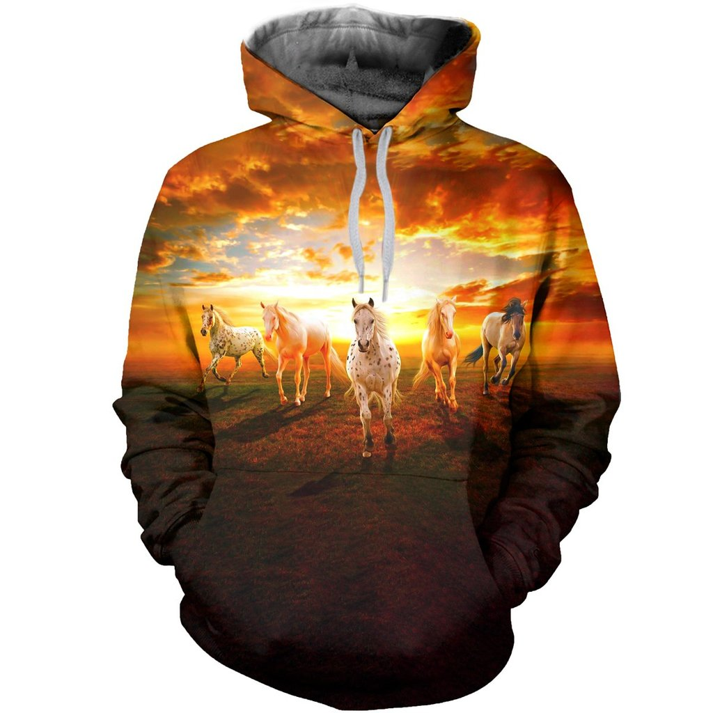 3D Sunrise Horses Printed Hoodie, T-Shirt, Long-Sleeve Sweater 001 - designfullprint