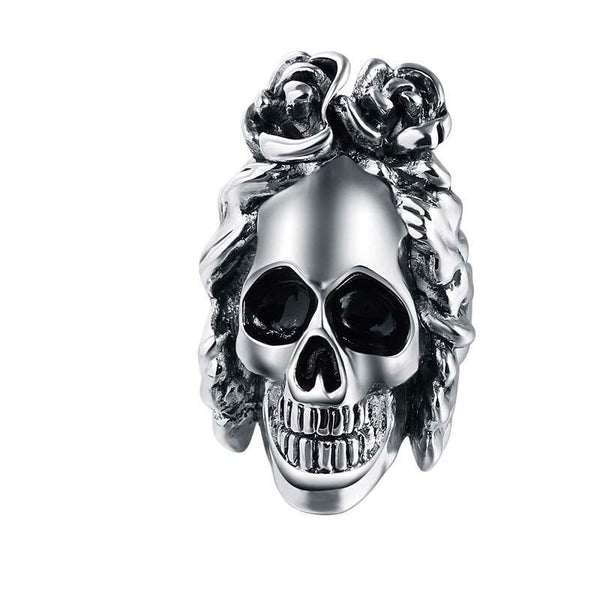Exaggerate Wavy Hair Adjustable Skull Ring