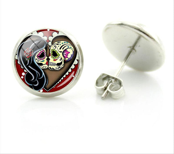 Rock Punk Skull Heart Stud Earrings