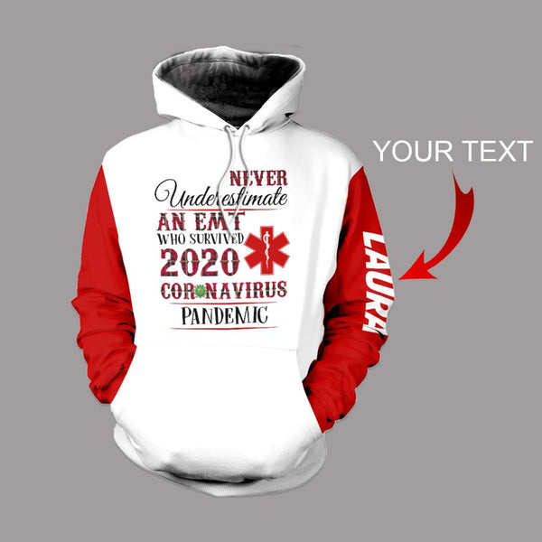 Personalized Never Underestimate An EMT V2 US Unisex Size Hoodie