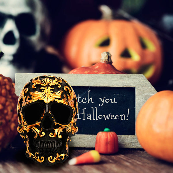 Halloween Golden Resin Skull  Ornaments