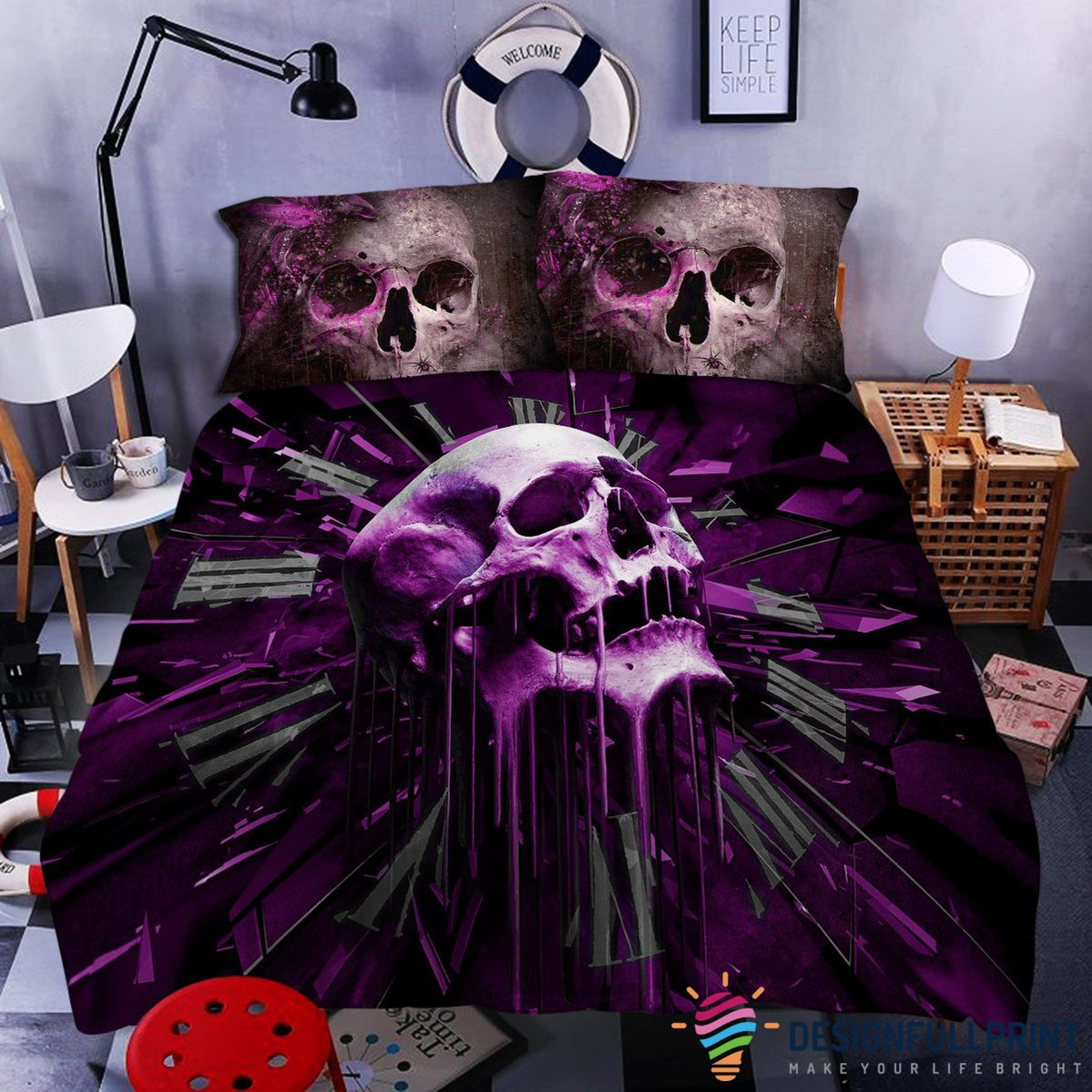 Skull Rip-Thru Bedding Set (Duvet Cover and Pillowcases)