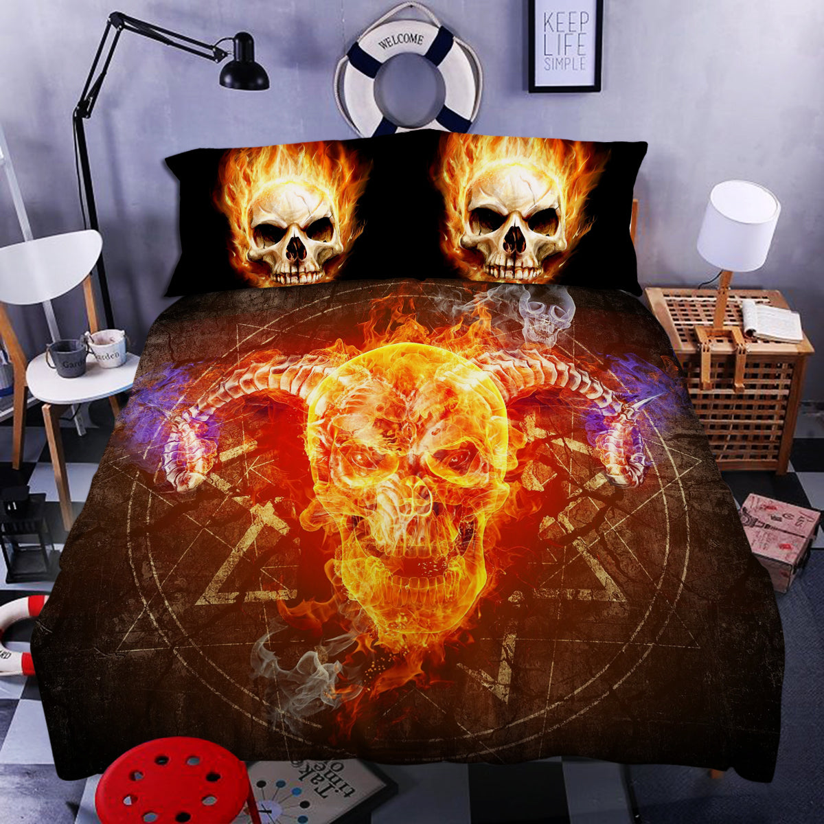 Skull Art Bedding 02 (Duvet Cover and Pillowcases)