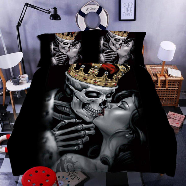 Special Sale: Skull Couple Bedding Set 1 (Duvet Cover and Pillowcases) - designfullprint