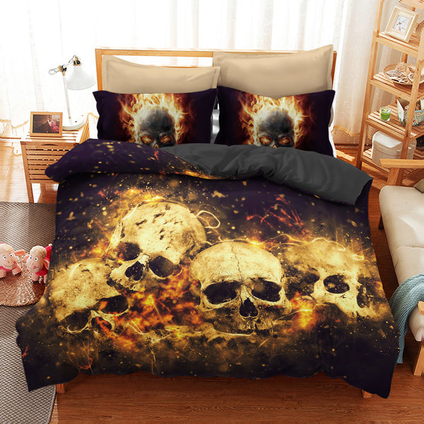 Skull Art 3D Bedding Set 04 (Duvet Cover and Pillowcases) - designfullprint