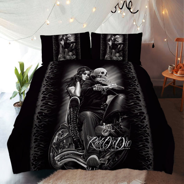 Special Sale: Skull Couple Bedding Set 3 (Duvet Cover and Pillowcases) - designfullprint