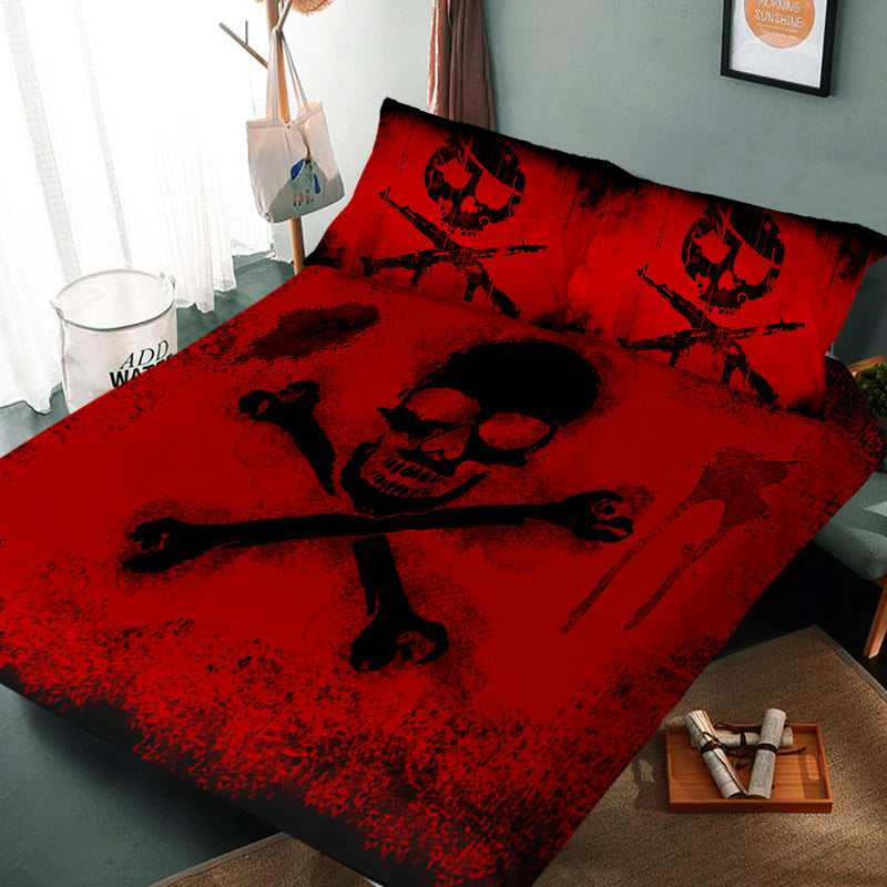 Skull And Crossbones 3D Bedding Set (Duvet Cover and Pillowcases)