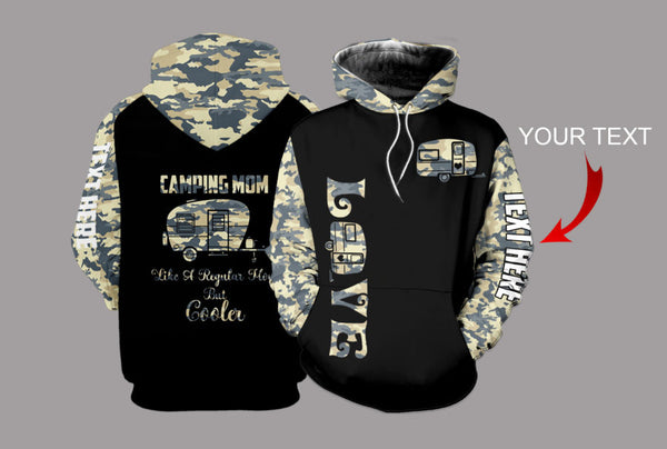 Camping Mom Camo Personalized US Unisex Size Hoodie