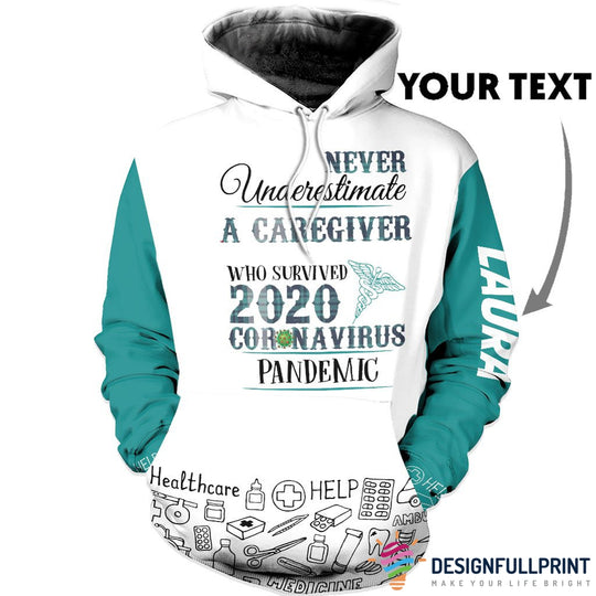 New Personalized A Caregiver Helping Hands Home Care Family Caregiver US Unisex Size Hoodie