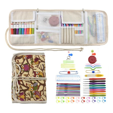 Cute Owl Sewing and Crochet Accessories With Case Organizer