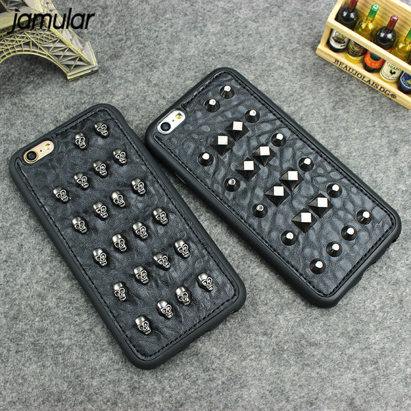 Cool Stud Skull Rivet Leather Case For iPhones