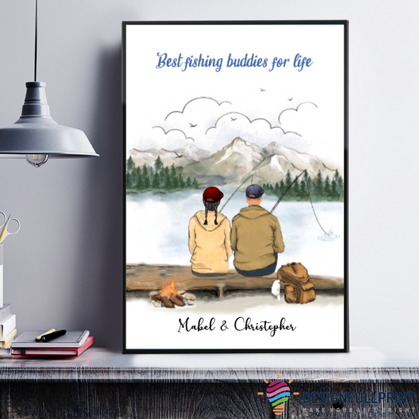 Fishing Family Ready to Hang Canvas