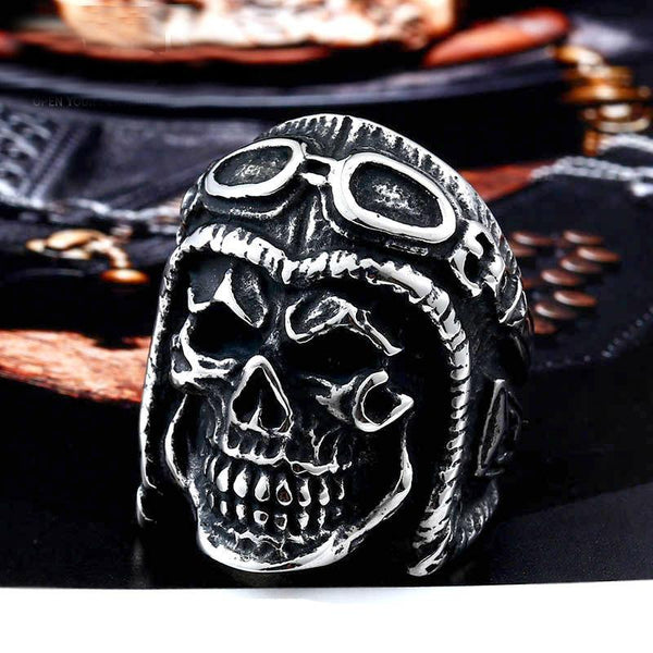 Stainless Steel Astronaut Punk Skull Rings