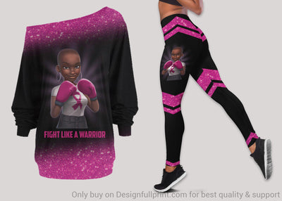 Fight Like A Warrior Breast Cancer Off Shoulder Long Sleeve Top and Leggings Set
