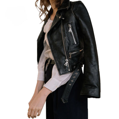 Winter Black Faux Leather Jackets with Zipper,Turn-down Collar Band Belt - designfullprint