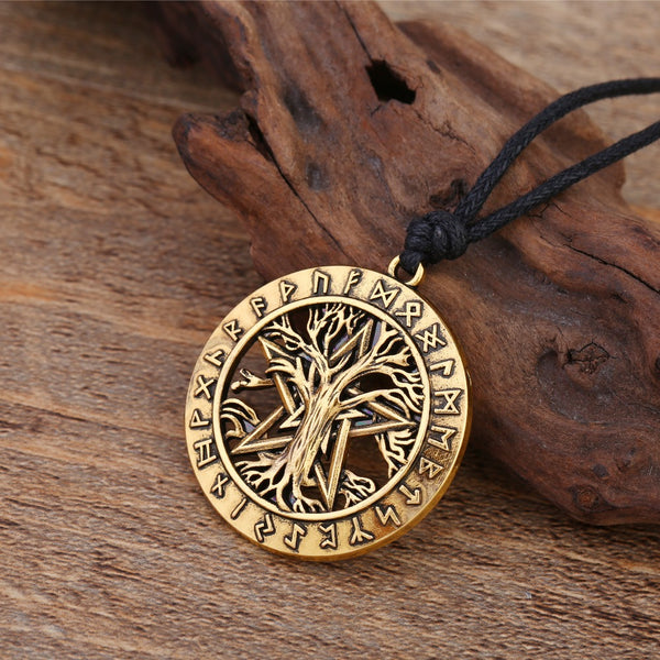 Tree Of Life With Wiccan Pentacle Necklace