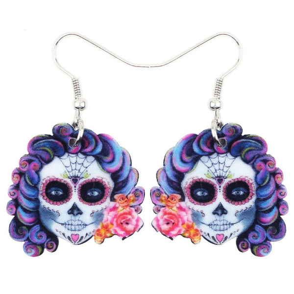Halloween Flower Skull Drop Earrings