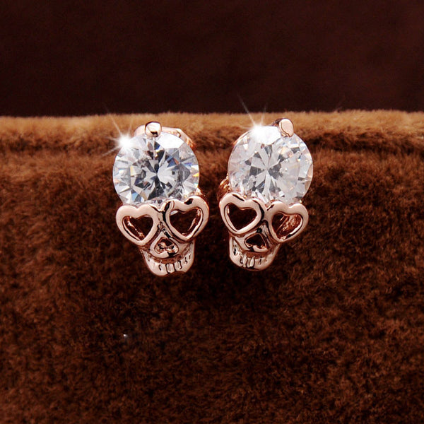 Cute Heart Eyes Skull Stud Earrings