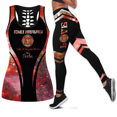Female Firefighter Tank Top And Legging Set