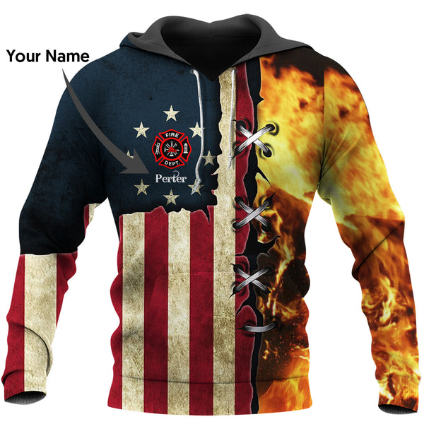 Personalized Firefighter US Unisex Hoodie