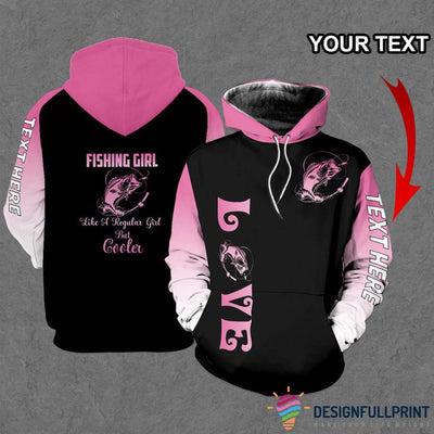 Fishing Girl Pink Sleeves Personalized US Unisex Size Hoodie