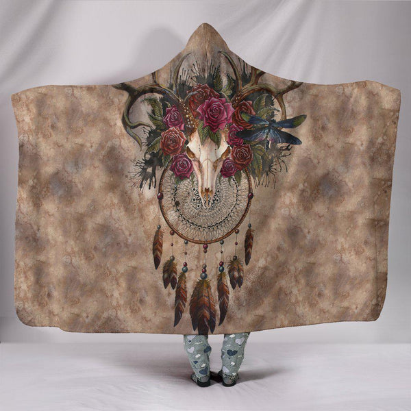 Ultra Soft Wool 3D Deer Skull Dreamcatcher Hooded Blanket 013 - designfullprint