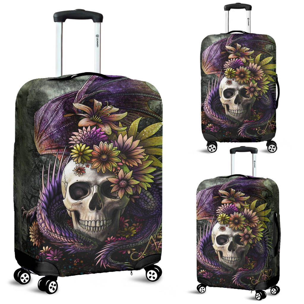 3D Skull and Dragon Luggage Cover 008