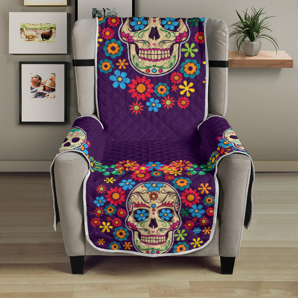 Skull Colorful Floral Sofa Protector White