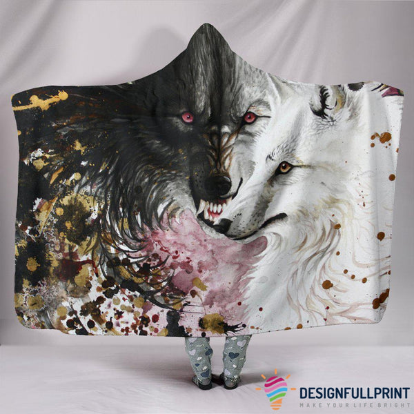 Ultra Soft Wool 3D Wolf Painting Hooded Blanket 001 - designfullprint