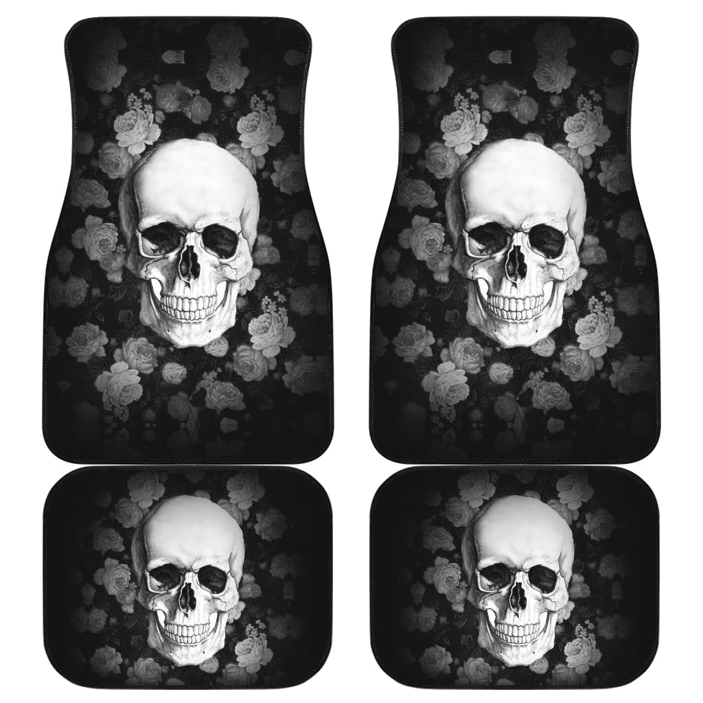 3D Skull design Universal-Fit Car Mat - DARK SKULL Black and White Skull Design (Set of 04) 002 - designfullprint