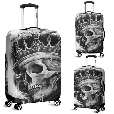 3D Black & White King Skull Design Luggage Covers 007