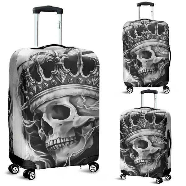 3D Black & White King Skull Design Luggage Covers 007 - designfullprint