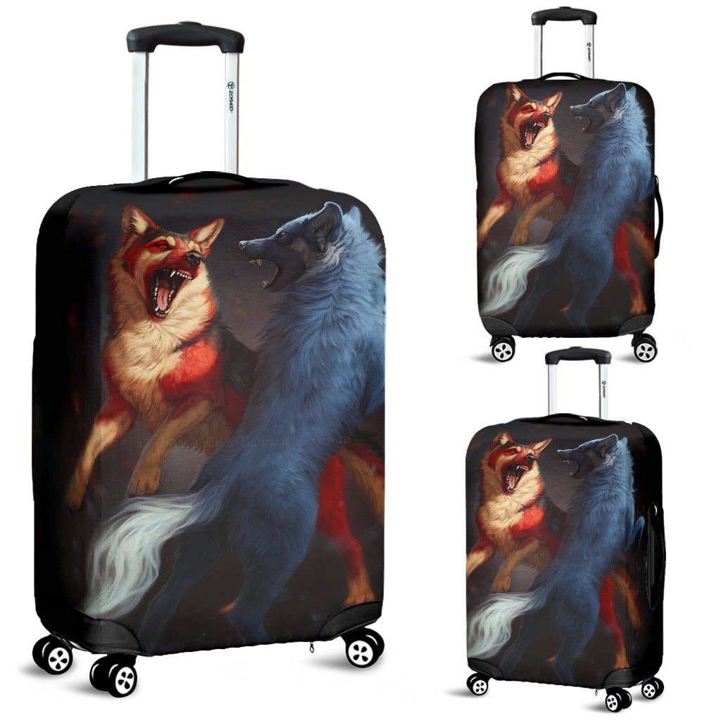 Washable Spandex Red&White Wolves Print Luggage Cover 001
