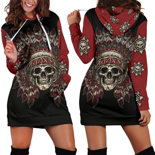 Native American Skull Hoodie Dress 006 - designfullprint