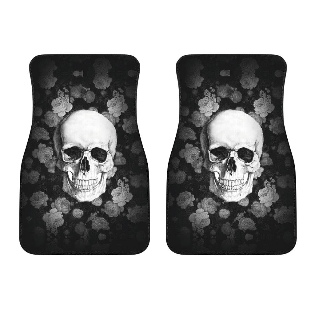 3D Skull design Universal-Fit Car Mat - DARK SKULL Black and White Skull Design (Set of 02) 002 - designfullprint