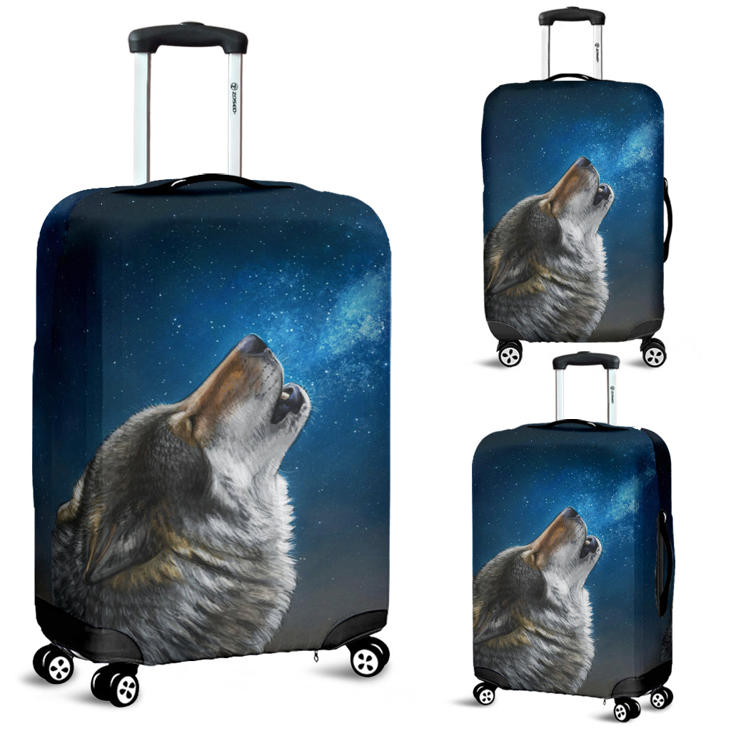 Washable Spandex Howling Wolf Print Luggage Cover 005