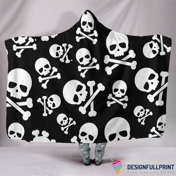 Skull Crossbones Hooded Blanket - designfullprint