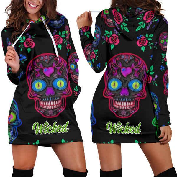 Wicked Skull Hoodie Dress