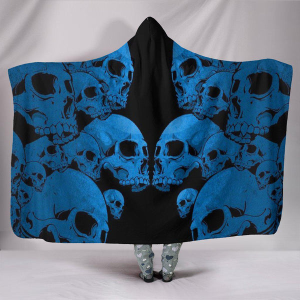 Ultra Soft Wool 3D Skull Hooded Blanket 010 - designfullprint