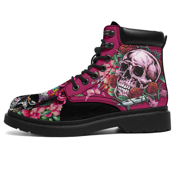 Skull and Flower Pink All-Season Boots