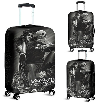 3D Skull Gothic Biker Luggage Cover 009