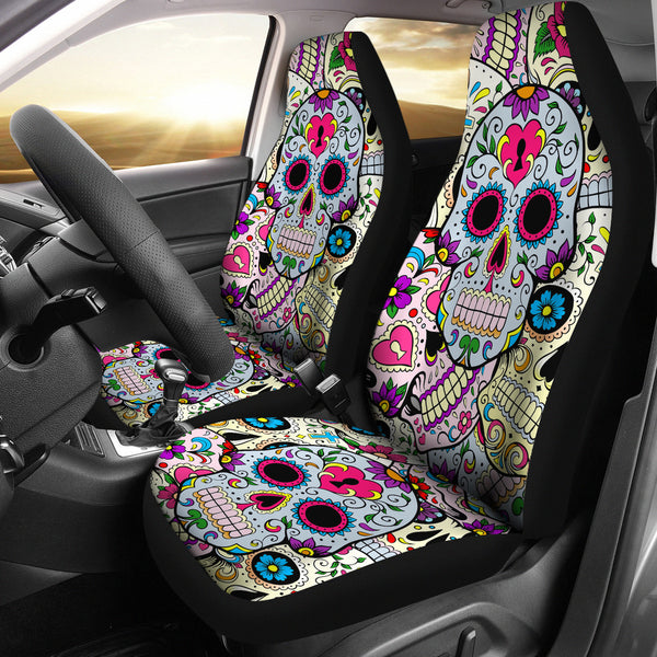 3D Skull Floral Car Seat Cover
