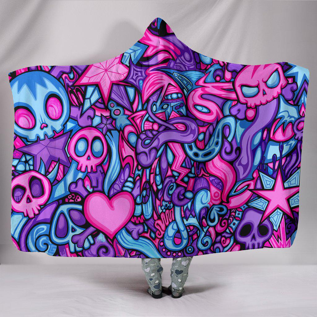 Ultra Soft Wool 3D Skull Hooded Blanket 005