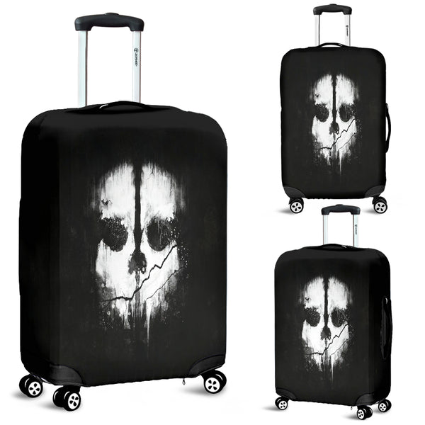 Skull Black & White Luggage Cover - designfullprint