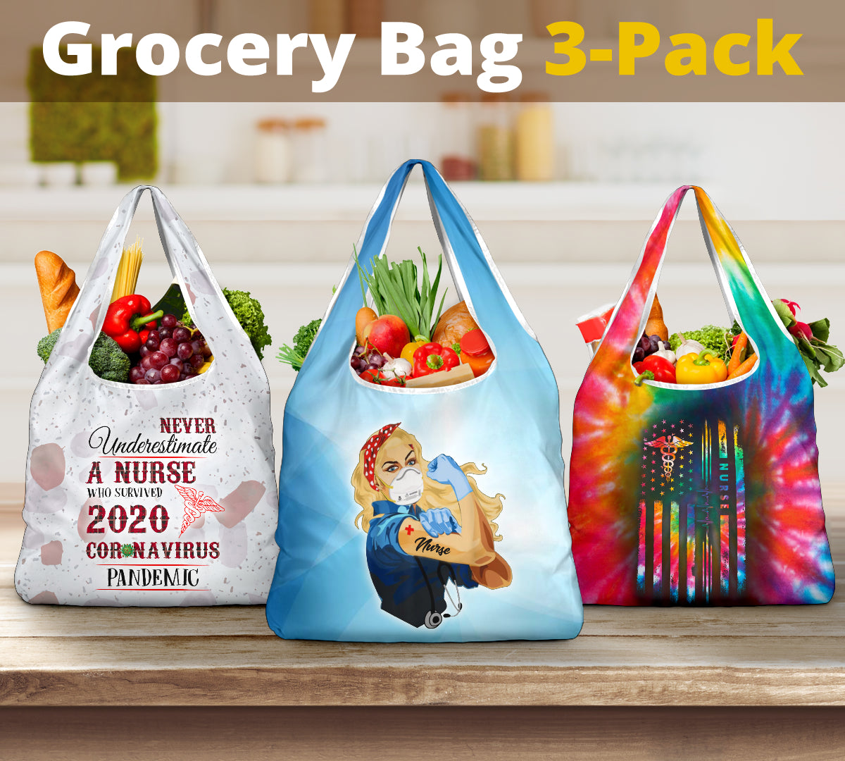 Nurse 2020 Grocery Bag 3-Pack