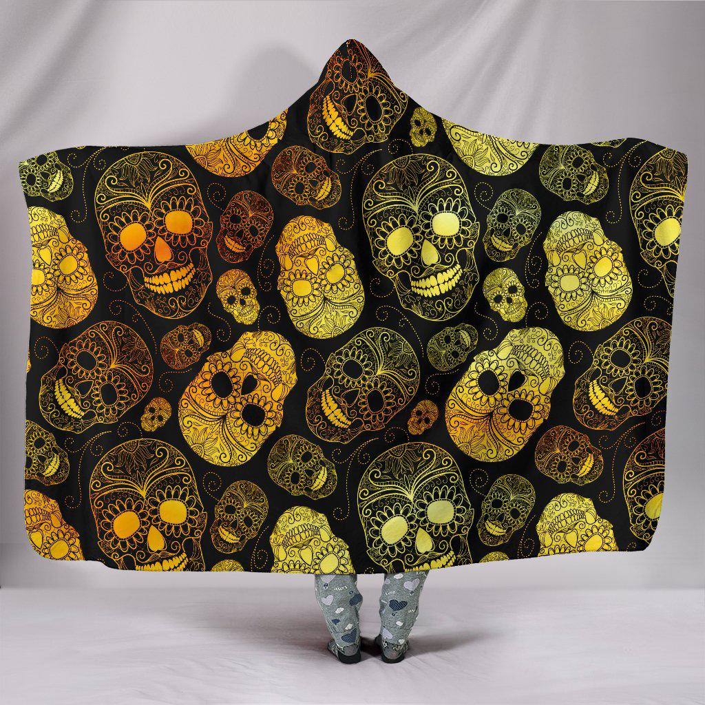 Ultra Soft Wool 3D Skull Hooded Blanket 002