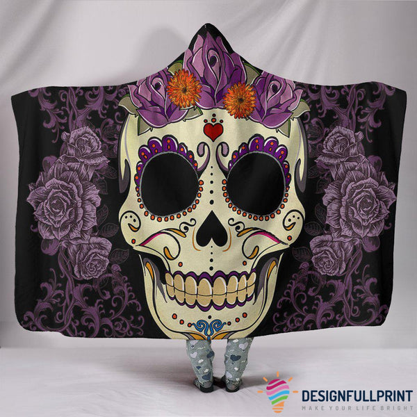 Ultra Soft Wool 3D Sugar Skull Purple Floral Hooded Blanket 012 - designfullprint
