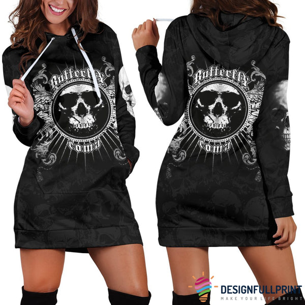 Comma Butterfly Skull Hoodie Dress 005